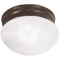 Nuvo Lighting Alabaster Mushroom Glass 1 Light Flush Mount in Old Bronze 76/670