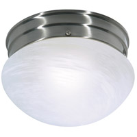 Nuvo Lighting Alabaster Mushroom Glass 1 Light Flush Mount in Brushed Nickel 76/671