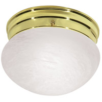 Nuvo Lighting Alabaster Mushroom Glass 1 Light Flush Mount in Polished Brass 76/672