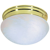 Mushroom Glass 2 Light 10 inch Polished Brass Flush Mount Ceiling Light
