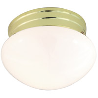 Nuvo Lighting Mushroom Glass 1 Light Flush Mount in Polished Brass 77/059