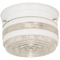 Nuvo Lighting Crystal / White Drum Glass 1 Light Flush Mount in White 77/097