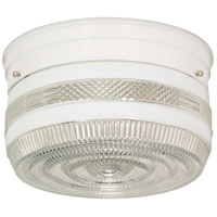 Drum Glass 2 Light 8 inch White Flush Mount Ceiling Light