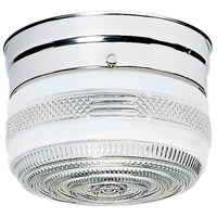 Drum Glass 1 Light 6 inch Polished Chrome Flush Mount Ceiling Light