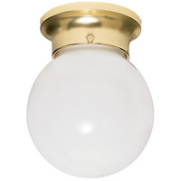 Nuvo Lighting White Ball Glass 1 Light Flush Mount in Polished Brass 77/108