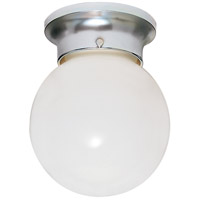 Nuvo Lighting White Ball Glass 1 Light Flush Mount in Polished Chrome 77/110
