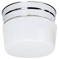 Nuvo Lighting White Drum Glass 1 Light Flush Mount in Polished Chrome 77/342