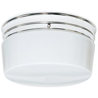 Nuvo SF77/344 Drum Glass 2 Light 10 inch Polished Chrome Flush Mount Ceiling Light