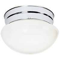 Nuvo Lighting White Mushroom Glass 1 Light Flush Mount in Polished Chrome 77/345
