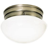 Nuvo Lighting White Mushroom Glass 1 Light Flush Mount in Antique Brass 77/921