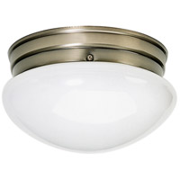 Nuvo Lighting White Mushroom Glass 2 Light Flush Mount in Antique Brass 77/924