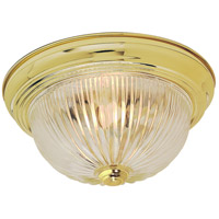 Ribbed Swirl Glass 3 Light 15 inch Polished Brass Flush Mount Ceiling Light