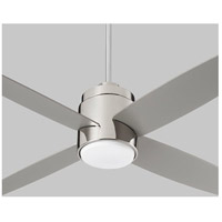 Oslo 52 inch Polished Nickel with Silver Blades Ceiling Fan, Light Kit Sold Separately