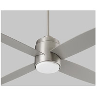 Oslo 52 inch Satin Nickel with Silver Blades Ceiling Fan, Light Kit Sold Separately