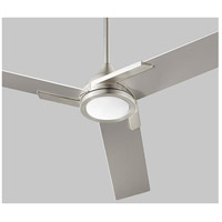 Coda 56 inch Satin Nickel with Silver Blades Ceiling Fan, Light Kit Sold Separately