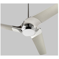 Sol 52 inch Polished Nickel with Silver Blades Ceiling Fan, Light Kit Sold Separately