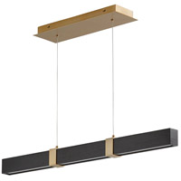 Oxygen Lighting 3-36-1540 Decca LED 36 inch Aged Brass And Black Oak Linear Pendant Ceiling Light