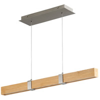 Oxygen Lighting 3-36-5224 Decca LED 36 inch Satin Nickel And White Oak Linear Pendant Ceiling Light