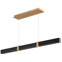 Oxygen Lighting 3-48-1540 Decca LED 48 inch Aged Brass And Black Oak Linear Pendant Ceiling Light