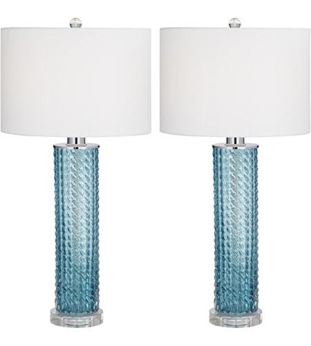 Pacific Coast 32f03 Renzo 29 Inch 150 Watt Sea Blue Table Lamps Portable Light Set Of 2