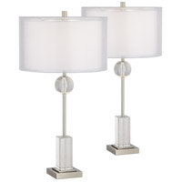 Pacific Coast 37V28 Vincent 30 inch 150 watt Brushed Nickel and Brushed Steel Table Lamps Portable Light Set of 2