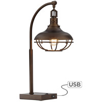 Pacific Coast 37V83 Millenial 25 inch 100 watt Bronze-Rubbed Table Lamp Portable Light with USB Port