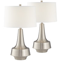 Pacific Coast 44F81 Argo 27 inch 150 watt Brushed Nickel and Brushed Steel Table Lamps Portable Light Set of 2