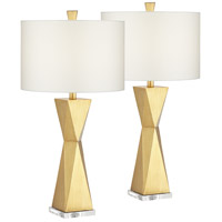 Pacific Coast 60F75 Kalso 30 inch 150 watt Brushed Gold Table Lamps Portable Light Set of 2