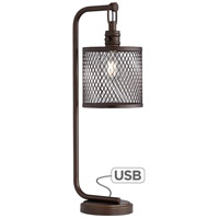 Pacific Coast 62E94 Mason 28 inch 75 watt Bronze Powdercoat Table Lamp Portable Light with USB Port