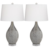 Pacific Coast 32F01 Volcanic Shimmer 27 inch 150 watt Smoke Grey Table Lamps Portable Light Set of 2 Kathy Ireland