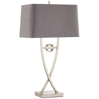 Wishbone 32 inch 150 watt Brushed Nickel and Steel Table Lamp Portable Light