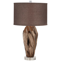 Indulgence 30 inch 150 watt Brown and Metalic Stone Table Lamp Portable Light