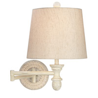 Pacific Coast Woven Sea Grass 1 Light Swing Arm Wall Lamp in White 89-5922-70