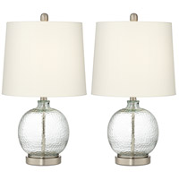 Pacific Coast 9T792 Saxby 24 inch 100 watt Brushed Nickel and Brushed Steel Table Lamp Portable Light, Set of 2