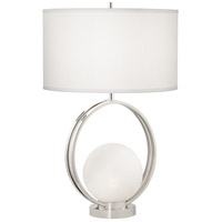 Pacific Coast 9Y863 Matilda 27 inch 150 watt Polished Nickel Table Lamp Portable Light with Nightlight