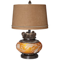 Pacific Coast 87-6946-G7 Pine Peak 26 inch 150 watt Etruscan Gold Table Lamp Portable Light, with Nightlight