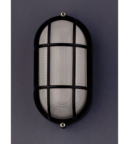 PLC Lighting Marine Outdoor Wall Sconce in Black with Frost Glass 1251-BK photo