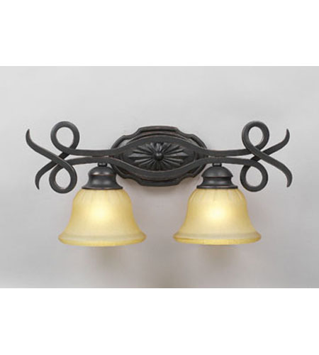PLC Lighting Rio Bravo Vanity in Oil Rubbed Bronze with Antique Honey Amber Glass 13312-ORB photo
