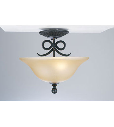 PLC Lighting Rio Bravo Flush Mount in Oil Rubbed Bronze with Antique Honey Amber Glass 13316-ORB photo