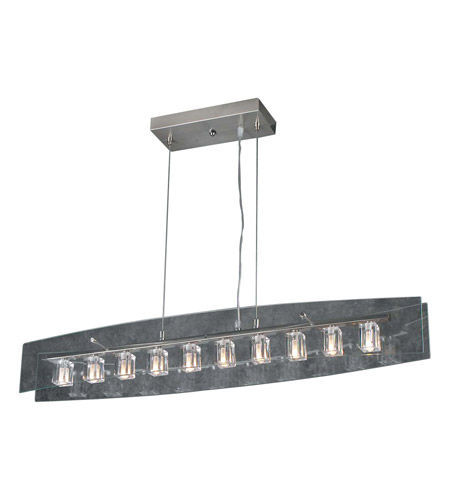 PLC Lighting 1538-SN Ice Cube 10 Light 36 inch Satin Nickel Pendant Ceiling Light photo