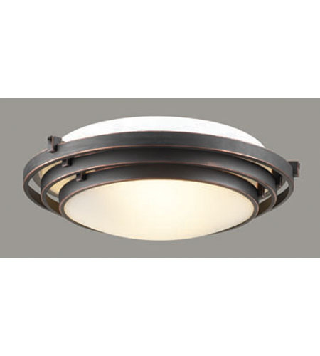 PLC Lighting Cascade Flush Mount in Oil Rubbed Bronze with Acid Frost Glass 1616-ORB photo