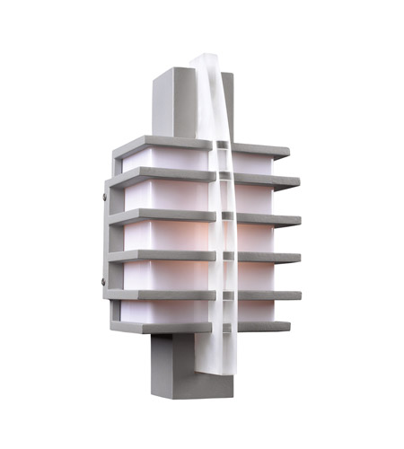 PLC Lighting Carre 1 Light Outdoor Wall Sconce in Silver 16602-SL photo