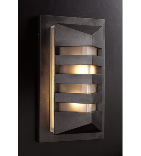 PLC Lighting De Majo 2 Light Outdoor Wall Sconce in Bronze 16611-BZ photo