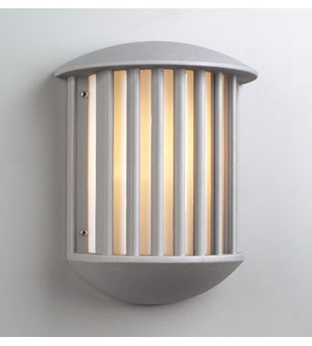 PLC Lighting Circa Outdoor Wall Sconce in Silver with Matte Opal Glass 1868-SL photo