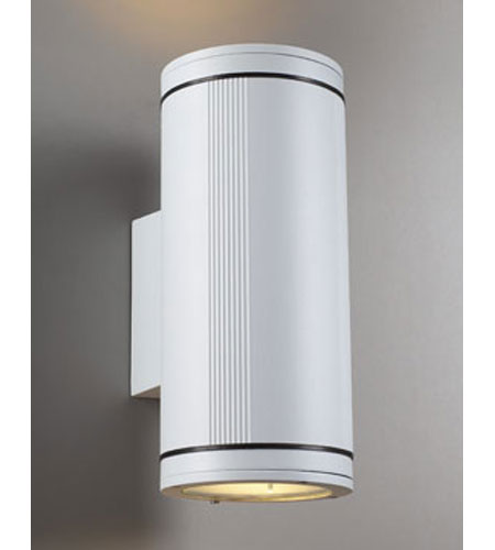 PLC Lighting Meridian 2 Light Outdoor Wall Sconce in White 1884-WH photo