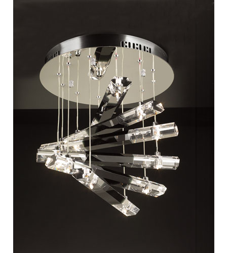 PLC Lighting Luxor Flush Mount in Polished Chrome with Black And Clear Glass 21192-PC photo