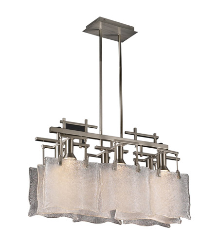 PLC Lighting 23035-SN Carilon 6 Light 27 inch Satin Nickel Pendant Ceiling Light photo