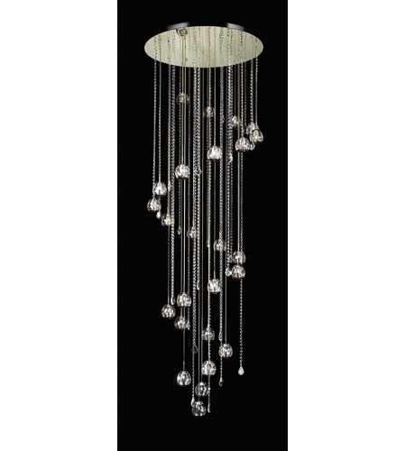 PLC Lighting Soleil Chandelier in Polished Chrome with Clear W. Smoke Lip Glass 23165-PC photo