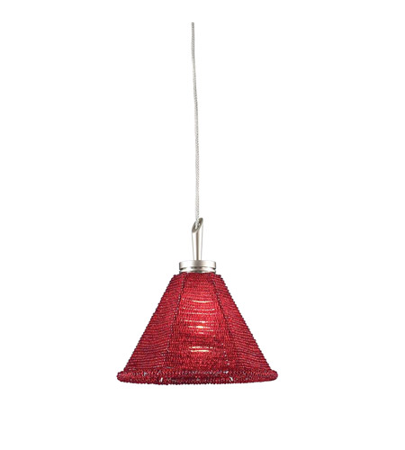 PLC Lighting Belmondo 1 Light Mini Pendant in Satin Nickel 237-RED photo