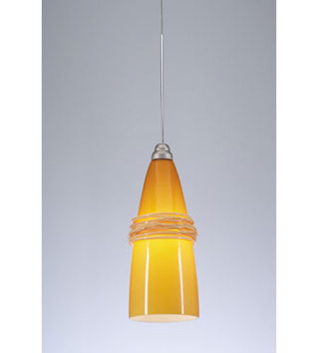 PLC Lighting Visage 1 Light Mini Pendant in Satin Nickel 272-AMBER photo